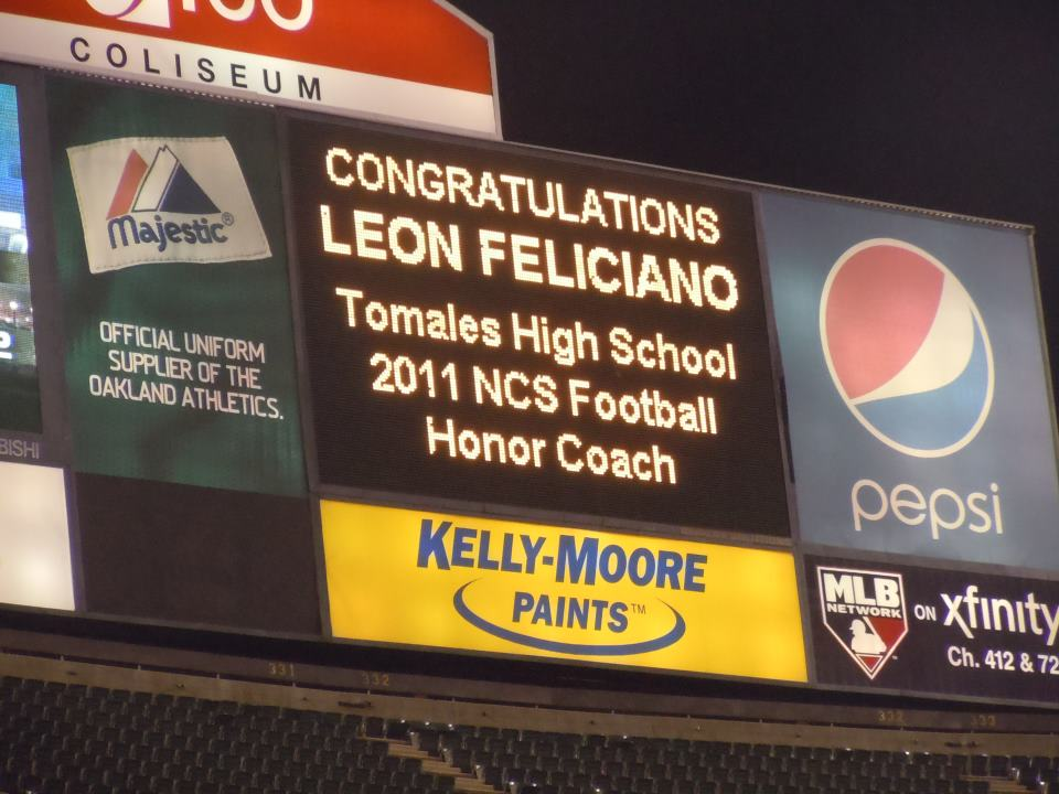 THS football coach Leon Feliciano was named NCS Honor Coach for 2011 at a ceremony held during halftime of the NCS playoff games held at the Oakland Coliseum.